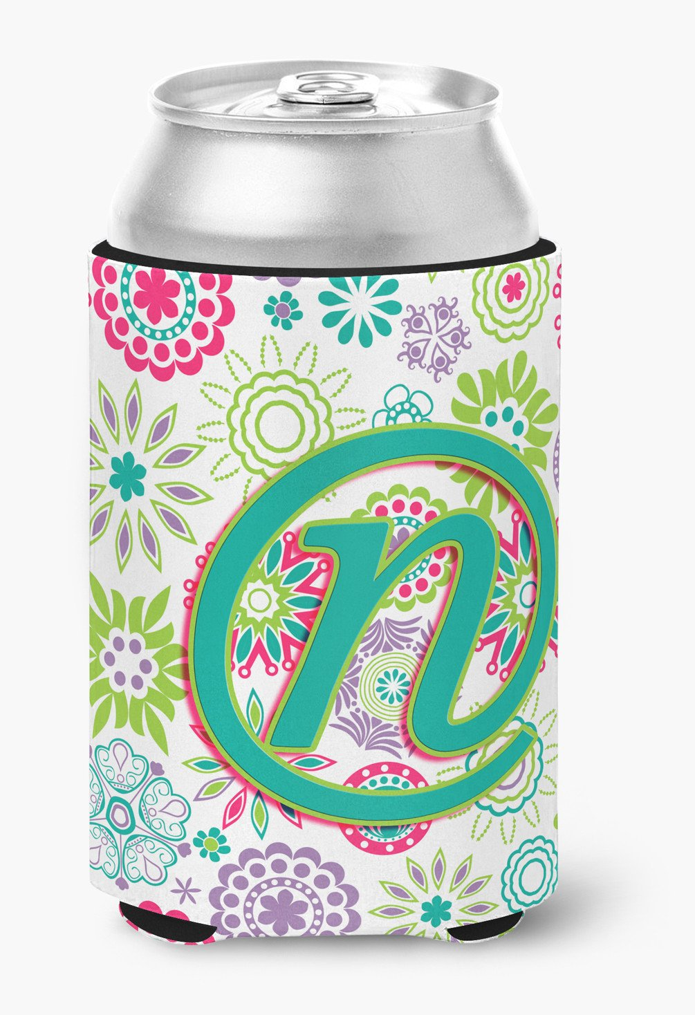 Letter N Flowers Pink Teal Green Initial Can or Bottle Hugger CJ2011-NCC by Caroline's Treasures
