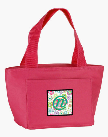 Buy this Letter N Flowers Pink Teal Green Initial Lunch Bag CJ2011-NPK-8808