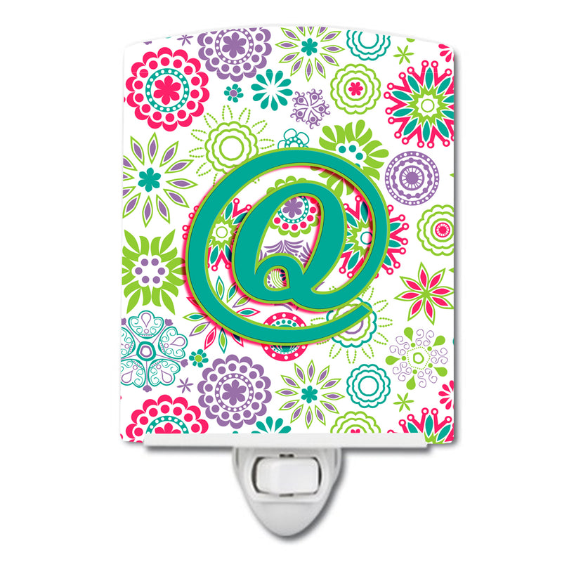 Buy this Letter Q Flowers Pink Teal Green Initial Ceramic Night Light CJ2011-QCNL
