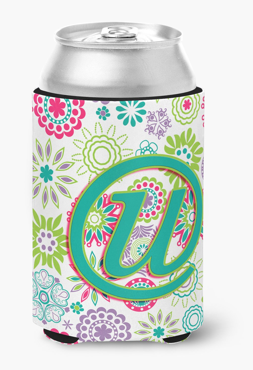 Buy this Letter U Flowers Pink Teal Green Initial Can or Bottle Hugger CJ2011-UCC