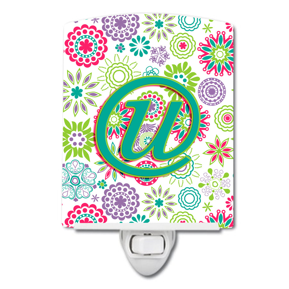 Letter U Flowers Pink Teal Green Initial Ceramic Night Light CJ2011-UCNL by Caroline's Treasures