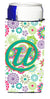 Letter U Flowers Pink Teal Green Initial Ultra Beverage Insulators for slim cans CJ2011-UMUK by Caroline's Treasures