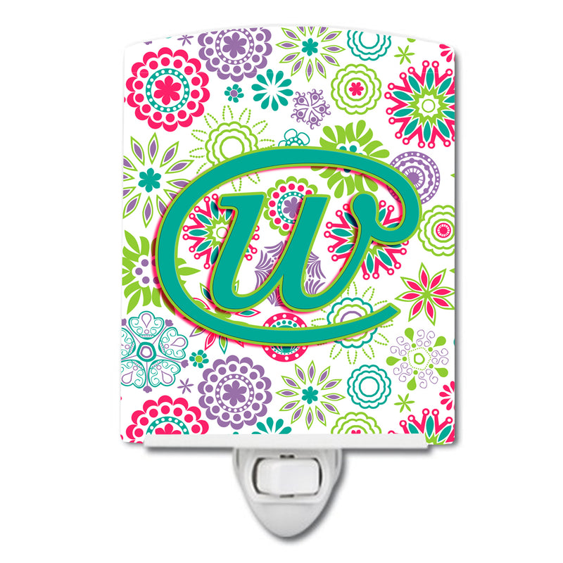 Buy this Letter W Flowers Pink Teal Green Initial Ceramic Night Light CJ2011-WCNL