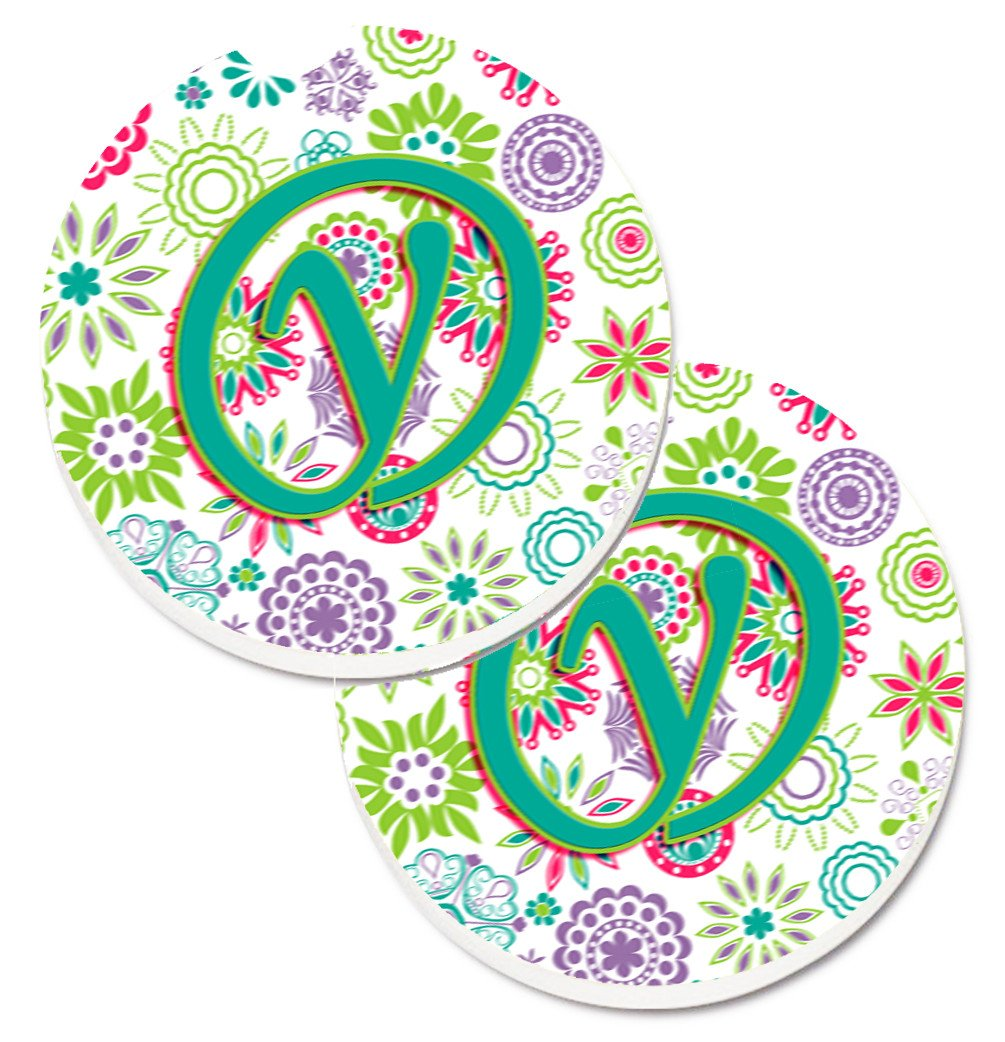 Letter Y Flowers Pink Teal Green Initial Set of 2 Cup Holder Car Coasters CJ2011-YCARC by Caroline's Treasures
