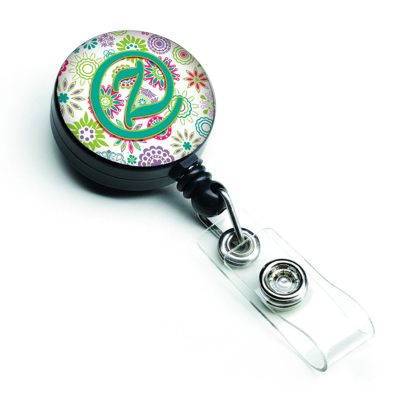 Buy this Letter Z Flowers Pink Teal Green Initial Retractable Badge Reel CJ2011-ZBR