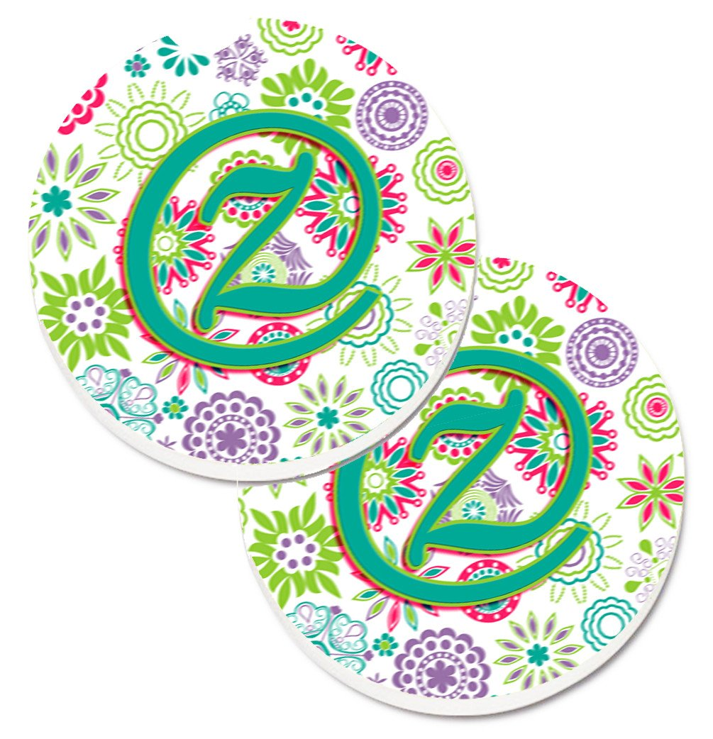 Letter Z Flowers Pink Teal Green Initial Set of 2 Cup Holder Car Coasters CJ2011-ZCARC by Caroline's Treasures
