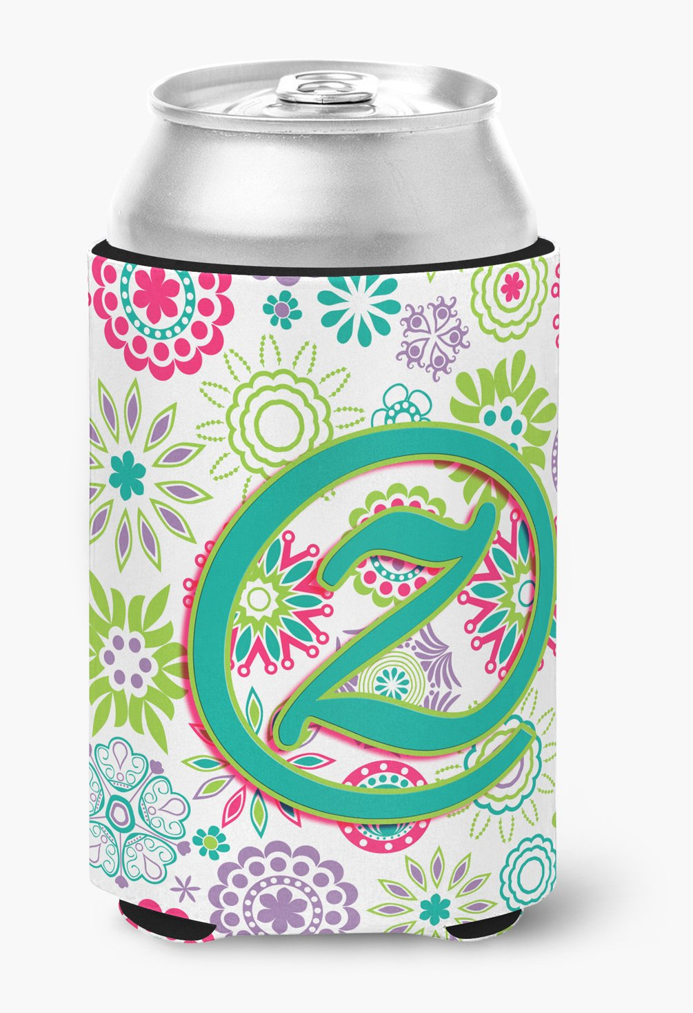 Letter Z Flowers Pink Teal Green Initial Can or Bottle Hugger CJ2011-ZCC by Caroline's Treasures