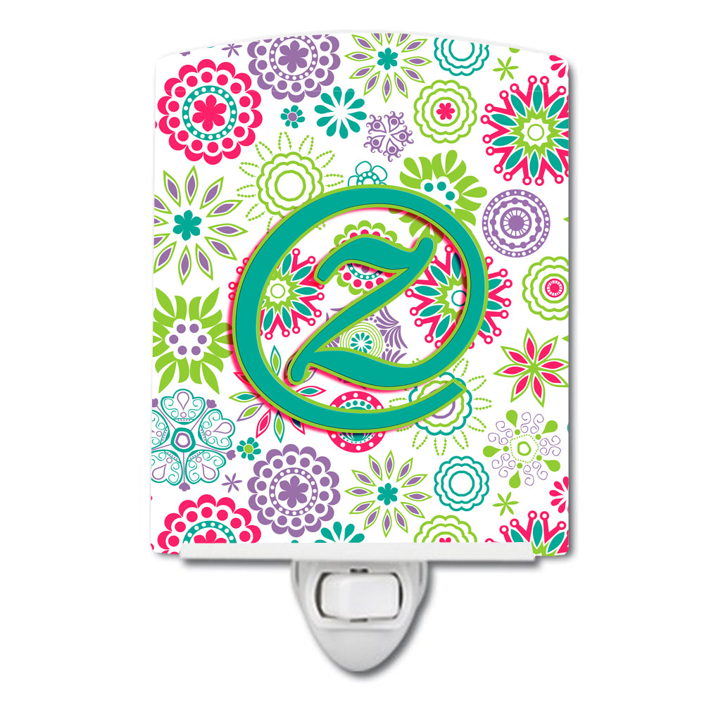 Letter Z Flowers Pink Teal Green Initial Ceramic Night Light CJ2011-ZCNL by Caroline's Treasures