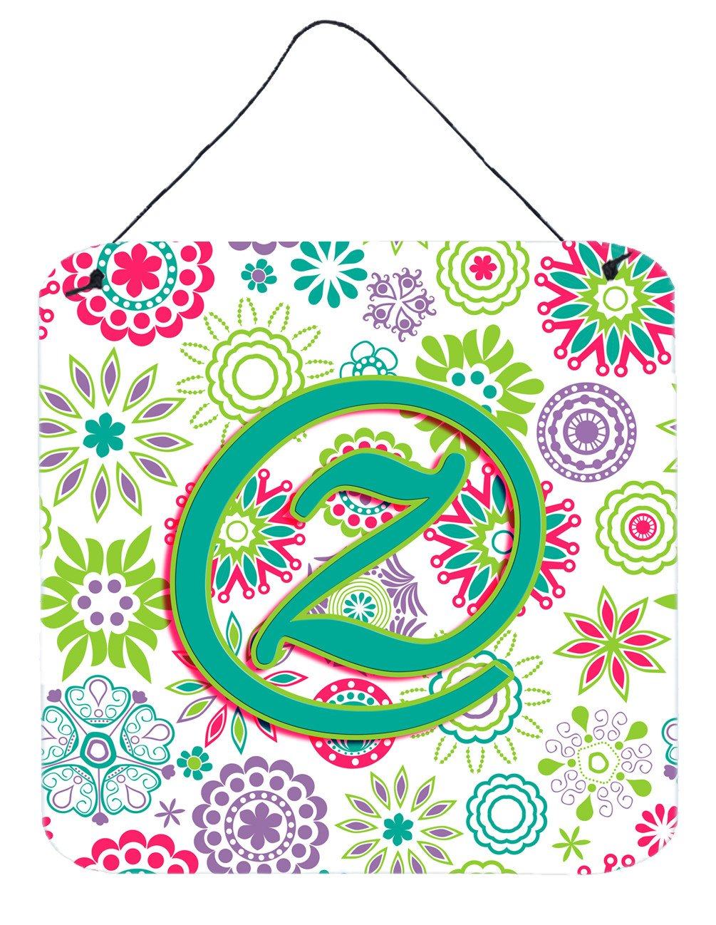 Letter Z Flowers Pink Teal Green Initial Wall or Door Hanging Prints CJ2011-ZDS66 by Caroline's Treasures