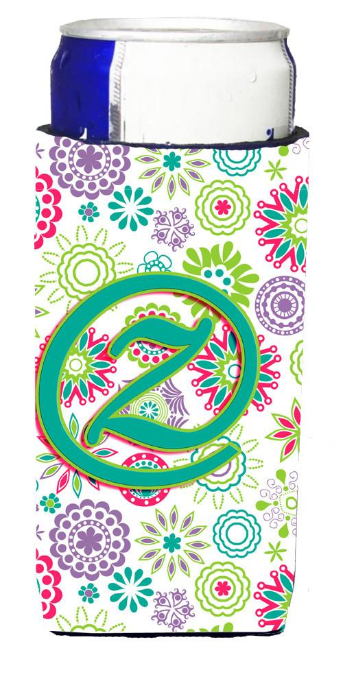 Letter Z Flowers Pink Teal Green Initial Ultra Beverage Insulators for slim cans CJ2011-ZMUK by Caroline's Treasures