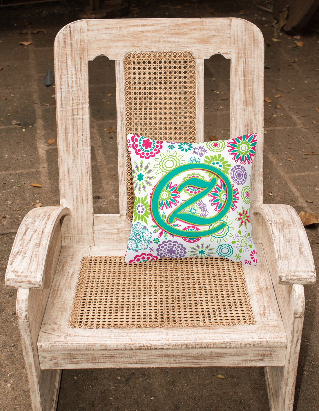Letter Z Flowers Pink Teal Green Initial Canvas Fabric Decorative Pillow CJ2011-ZPW1414 by Caroline's Treasures