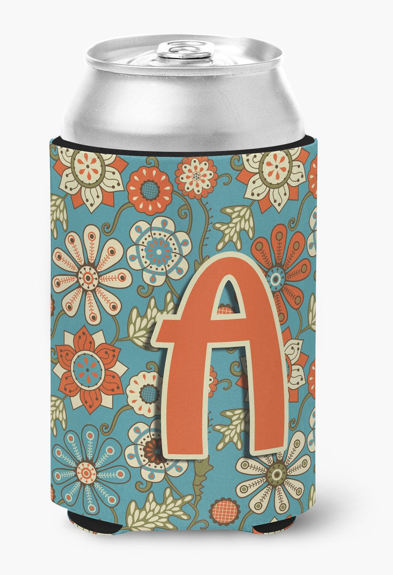 Buy this Letter A Flowers Retro Blue Can or Bottle Hugger CJ2012-ACC