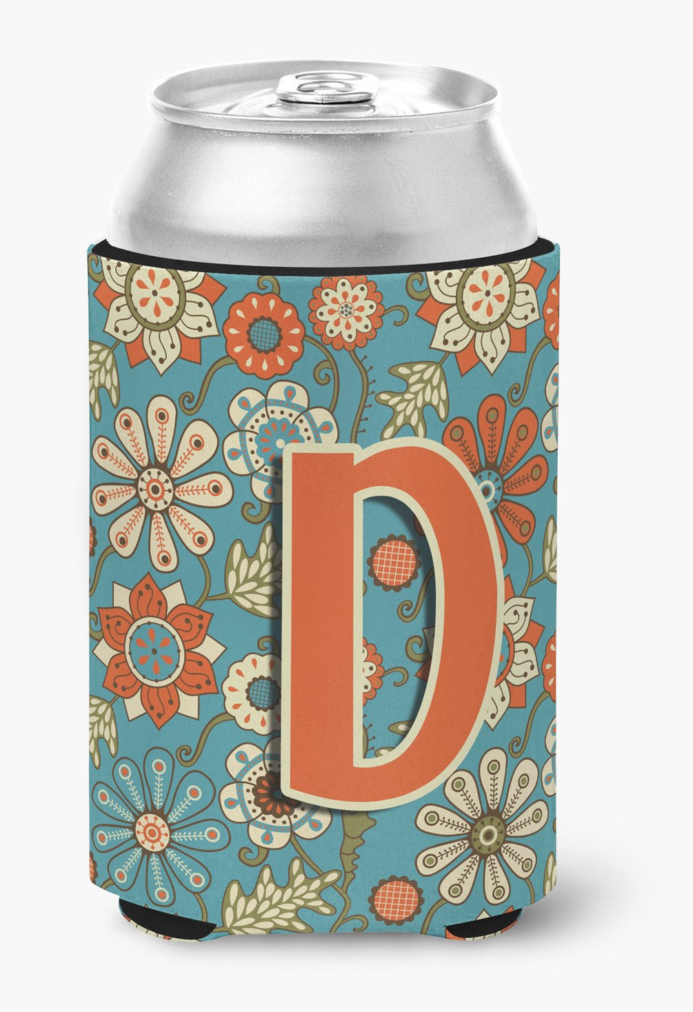 Letter D Flowers Retro Blue Can or Bottle Hugger CJ2012-DCC by Caroline's Treasures