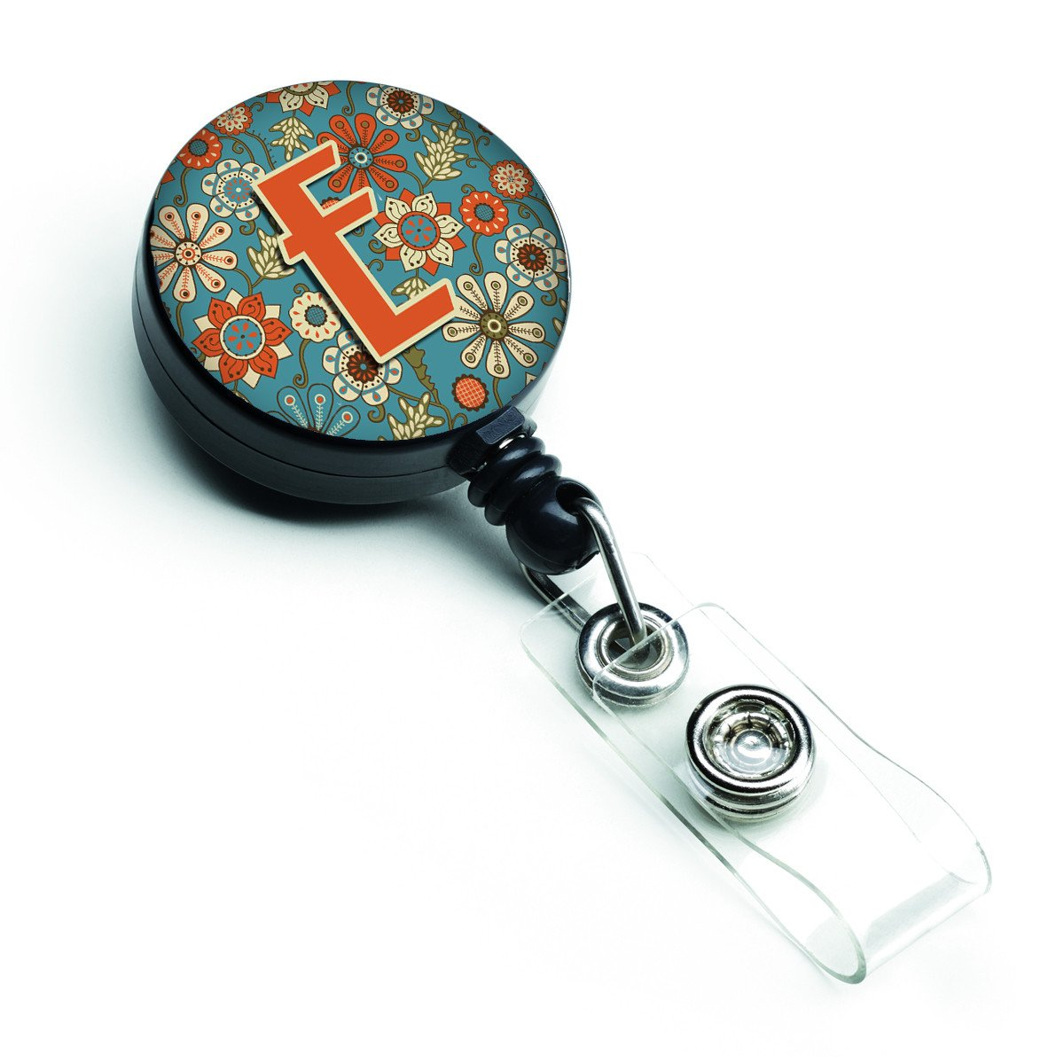 Letter E Flowers Retro Blue Retractable Badge Reel CJ2012-EBR by Caroline's Treasures