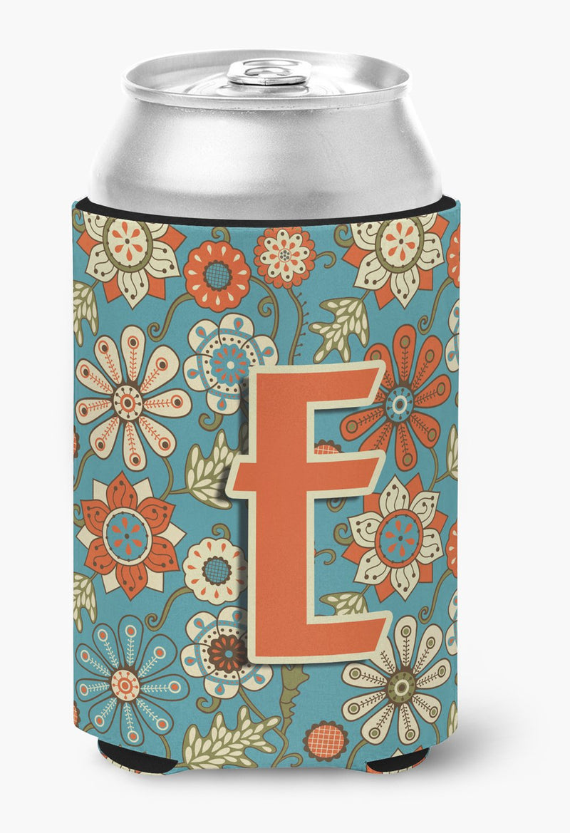 Buy this Letter E Flowers Retro Blue Can or Bottle Hugger CJ2012-ECC