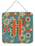 Letter H Flowers Retro Blue Wall or Door Hanging Prints CJ2012-HDS66 by Caroline's Treasures