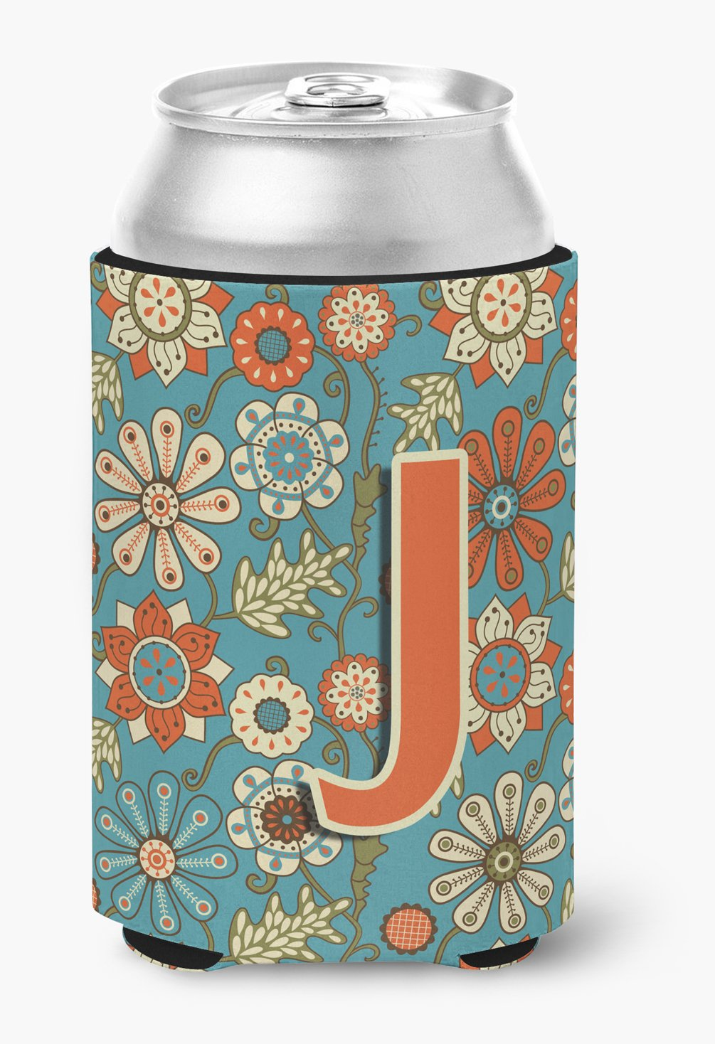Letter J Flowers Retro Blue Can or Bottle Hugger CJ2012-JCC by Caroline's Treasures