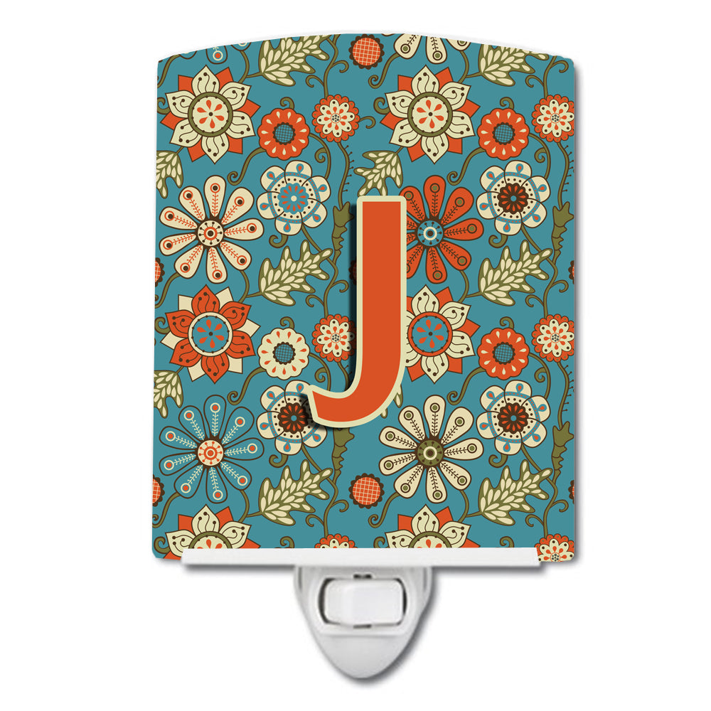 Letter J Flowers Retro Blue Ceramic Night Light CJ2012-JCNL by Caroline's Treasures