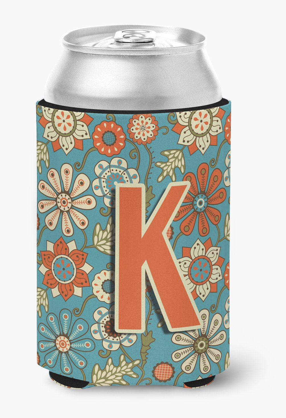 Buy this Letter K Flowers Retro Blue Can or Bottle Hugger CJ2012-KCC