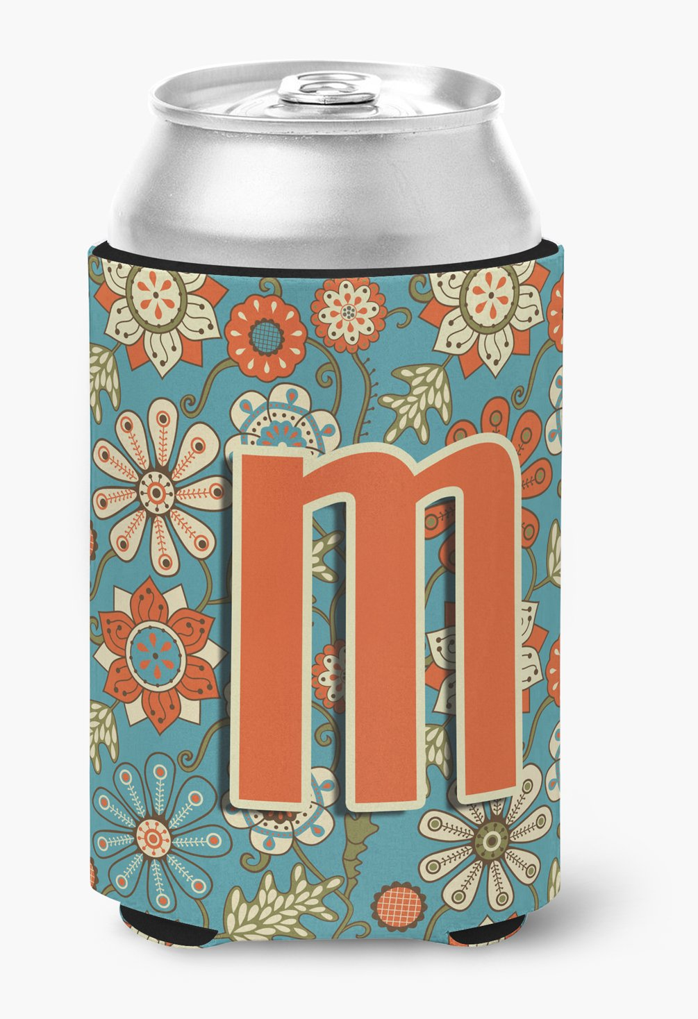Letter M Flowers Retro Blue Can or Bottle Hugger CJ2012-MCC by Caroline's Treasures