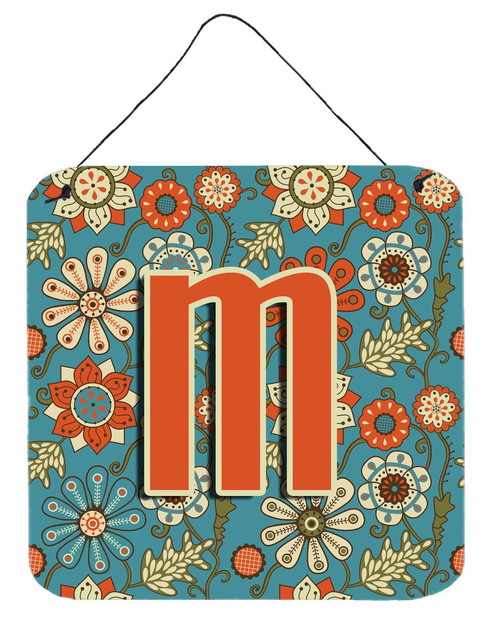 Letter M Flowers Retro Blue Wall or Door Hanging Prints CJ2012-MDS66 by Caroline's Treasures