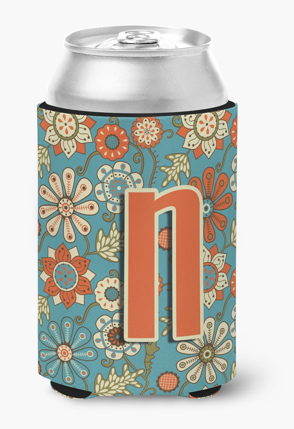 Buy this Letter N Flowers Retro Blue Can or Bottle Hugger CJ2012-NCC