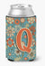 Buy this Letter Q Flowers Retro Blue Can or Bottle Hugger CJ2012-QCC