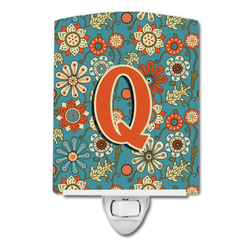 Buy this Letter Q Flowers Retro Blue Ceramic Night Light CJ2012-QCNL
