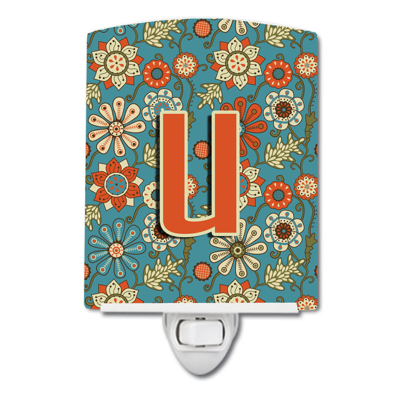 Buy this Letter U Flowers Retro Blue Ceramic Night Light CJ2012-UCNL