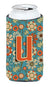 Buy this Letter U Flowers Retro Blue Tall Boy Beverage Insulator Hugger CJ2012-UTBC