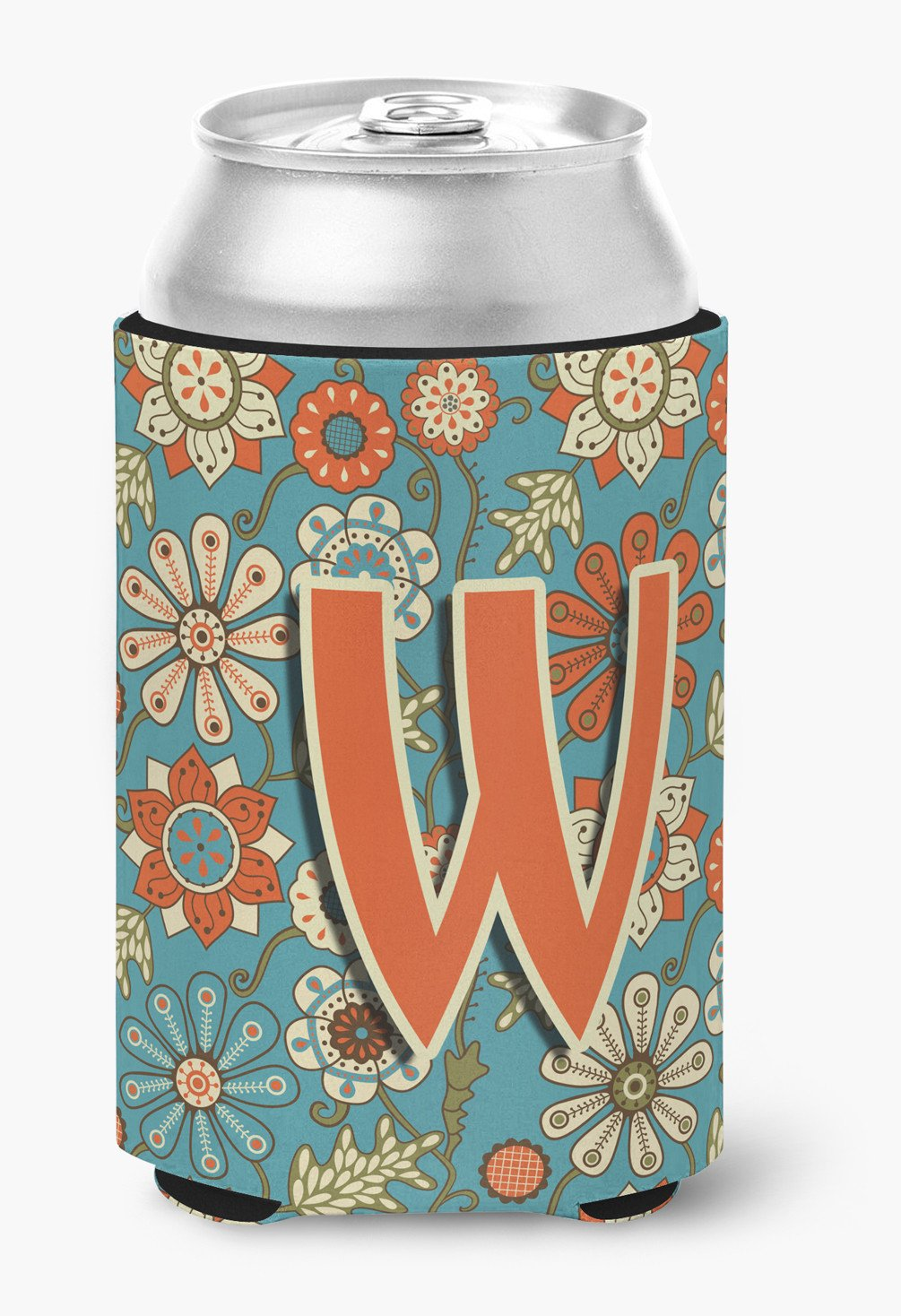 Buy this Letter W Flowers Retro Blue Can or Bottle Hugger CJ2012-WCC