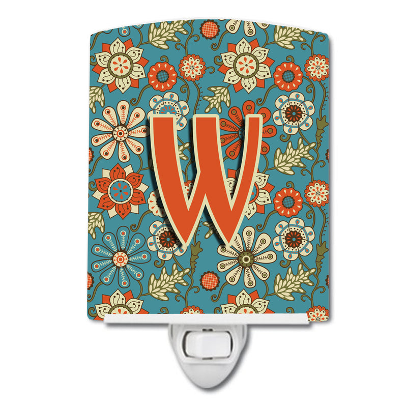 Buy this Letter W Flowers Retro Blue Ceramic Night Light CJ2012-WCNL