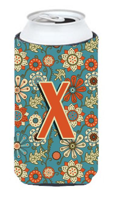 Letter X Flowers Retro Blue Tall Boy Beverage Insulator Hugger CJ2012-XTBC by Caroline's Treasures