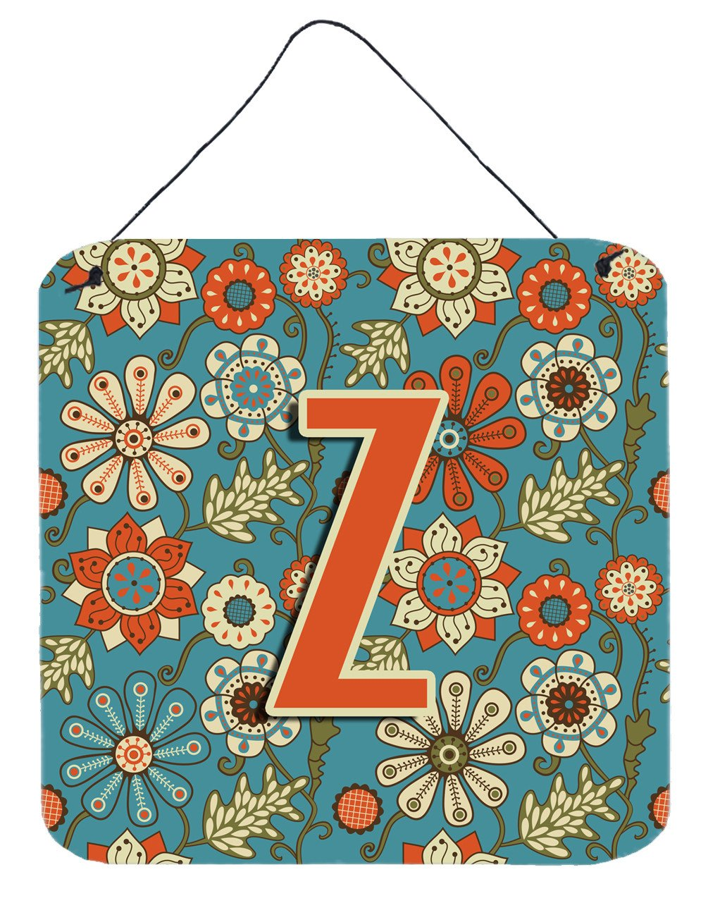 Letter Z Flowers Retro Blue Wall or Door Hanging Prints CJ2012-ZDS66 by Caroline's Treasures