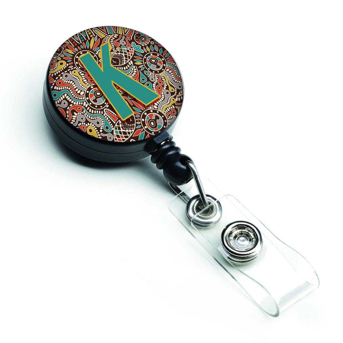 Letter K Retro Tribal Alphabet Initial Retractable Badge Reel CJ2013-KBR by Caroline's Treasures