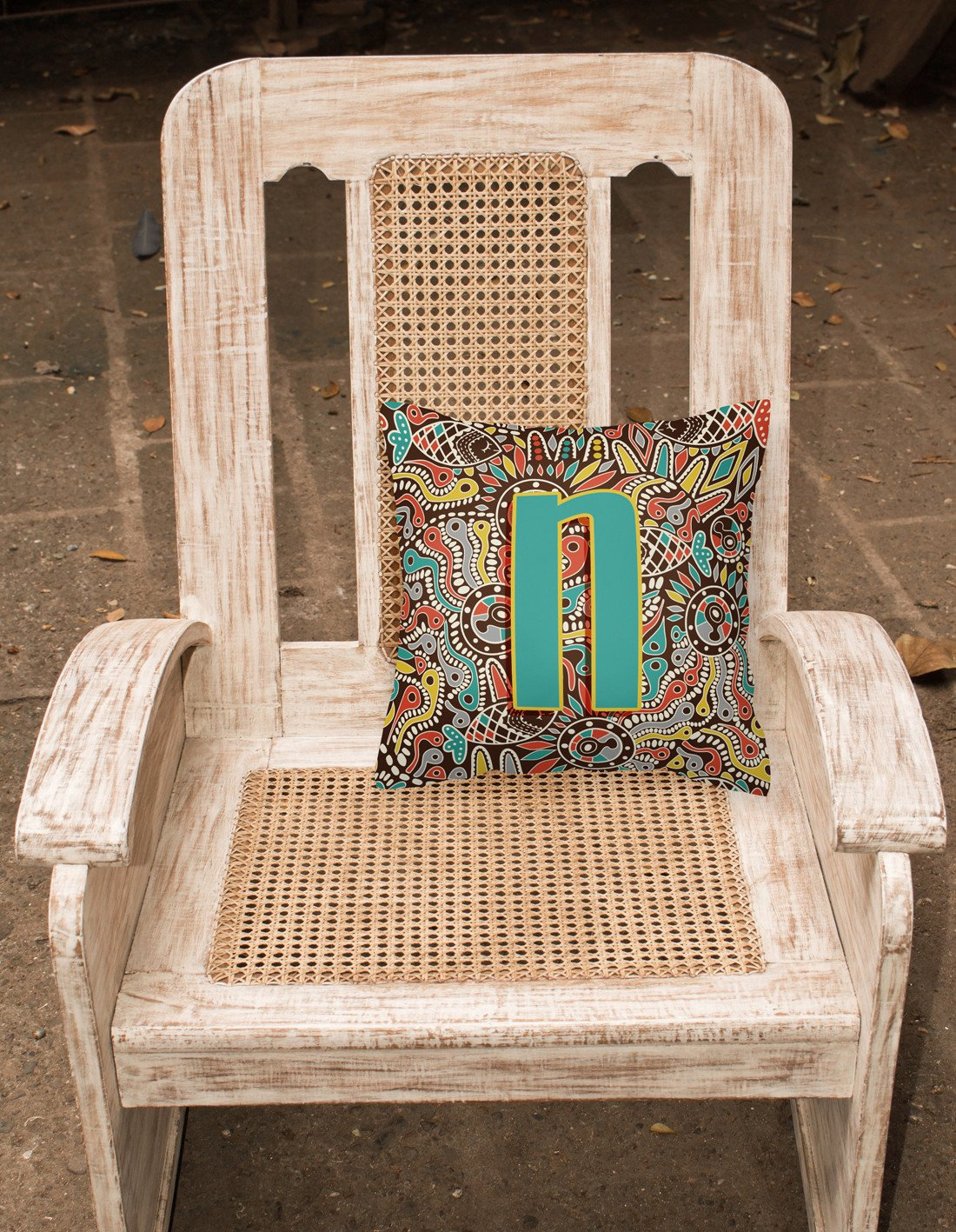 Letter N Retro Tribal Alphabet Initial Canvas Fabric Decorative Pillow CJ2013-NPW1414 by Caroline's Treasures