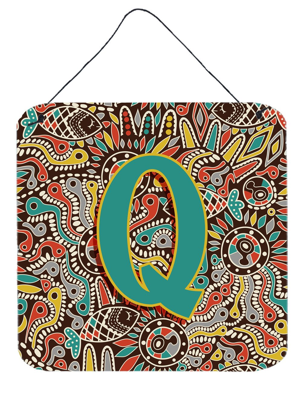 Letter Q Retro Tribal Alphabet Initial Wall or Door Hanging Prints CJ2013-QDS66 by Caroline's Treasures