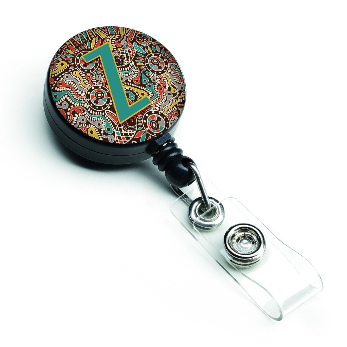 Letter Z Retro Tribal Alphabet Initial Retractable Badge Reel CJ2013-ZBR by Caroline's Treasures