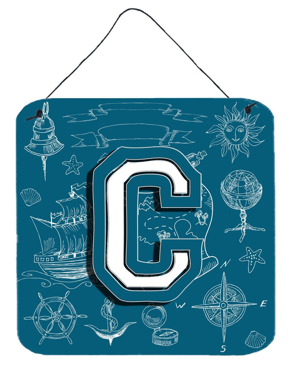 Letter C Sea Doodles Initial Alphabet Wall or Door Hanging Prints CJ2014-CDS66 by Caroline's Treasures