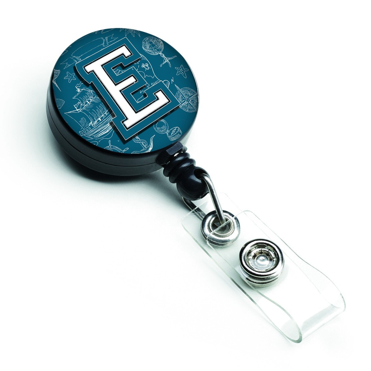 Letter E Sea Doodles Initial Alphabet Retractable Badge Reel CJ2014-EBR by Caroline's Treasures
