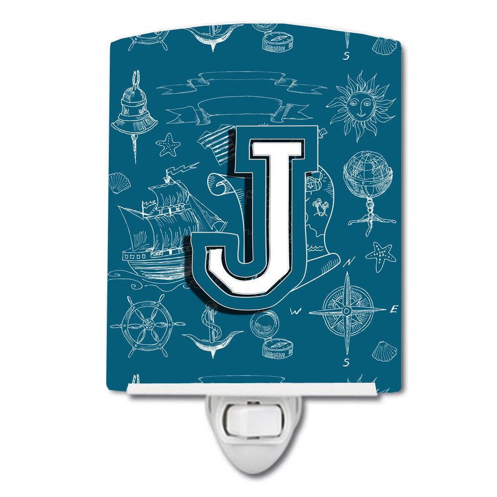Letter J Sea Doodles Initial Alphabet Ceramic Night Light CJ2014-JCNL by Caroline's Treasures