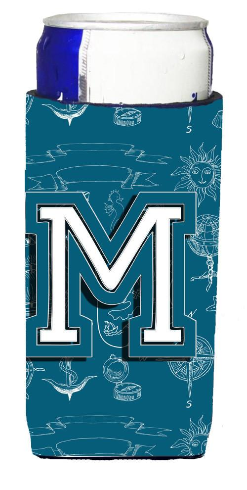 Letter M Sea Doodles Initial Alphabet Ultra Beverage Insulators for slim cans CJ2014-MMUK by Caroline's Treasures