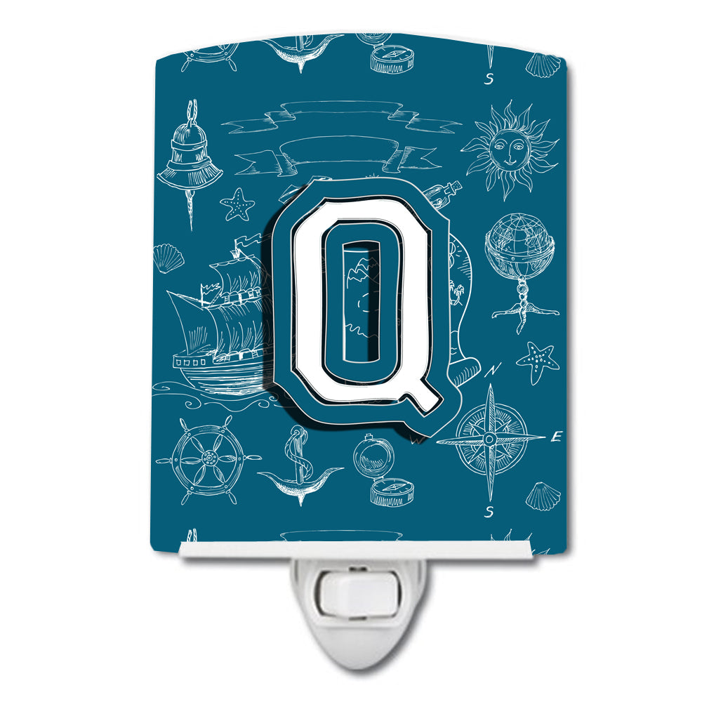 Buy this Letter Q Sea Doodles Initial Alphabet Ceramic Night Light CJ2014-QCNL