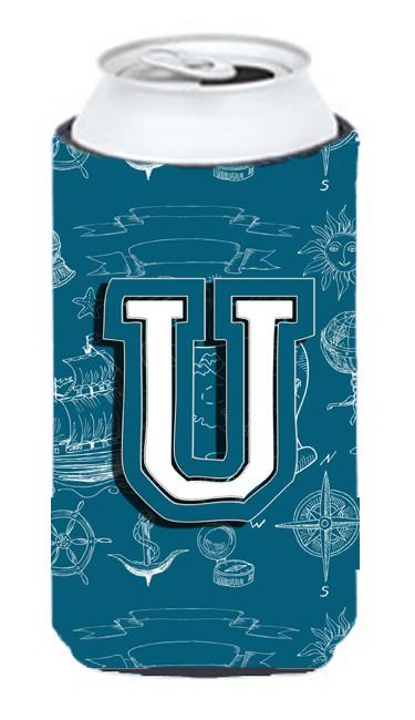 Buy this Letter U Sea Doodles Initial Alphabet Tall Boy Beverage Insulator Hugger CJ2014-UTBC