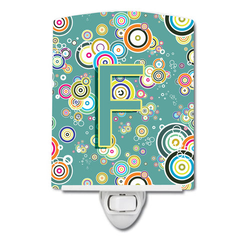 Buy this Letter F Circle Circle Teal Initial Alphabet Ceramic Night Light CJ2015-FCNL