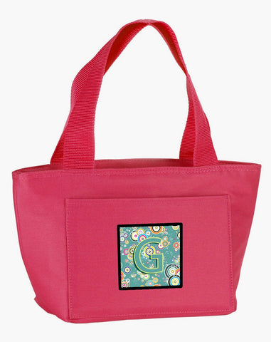 Buy this Letter G Circle Circle Teal Initial Alphabet Lunch Bag CJ2015-GPK-8808