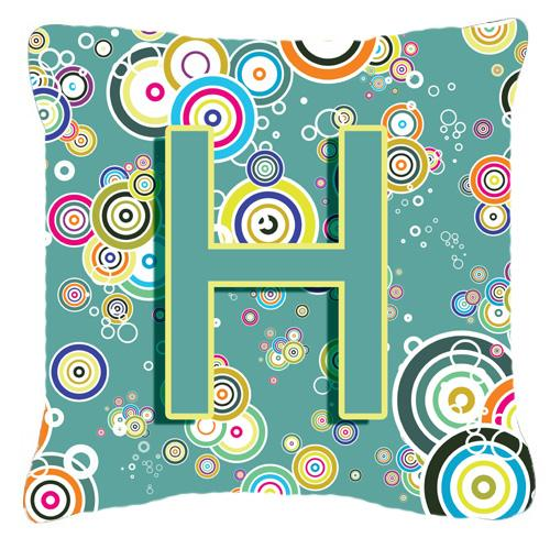 Letter H Circle Circle Teal Initial Alphabet Canvas Fabric Decorative Pillow by Caroline's Treasures