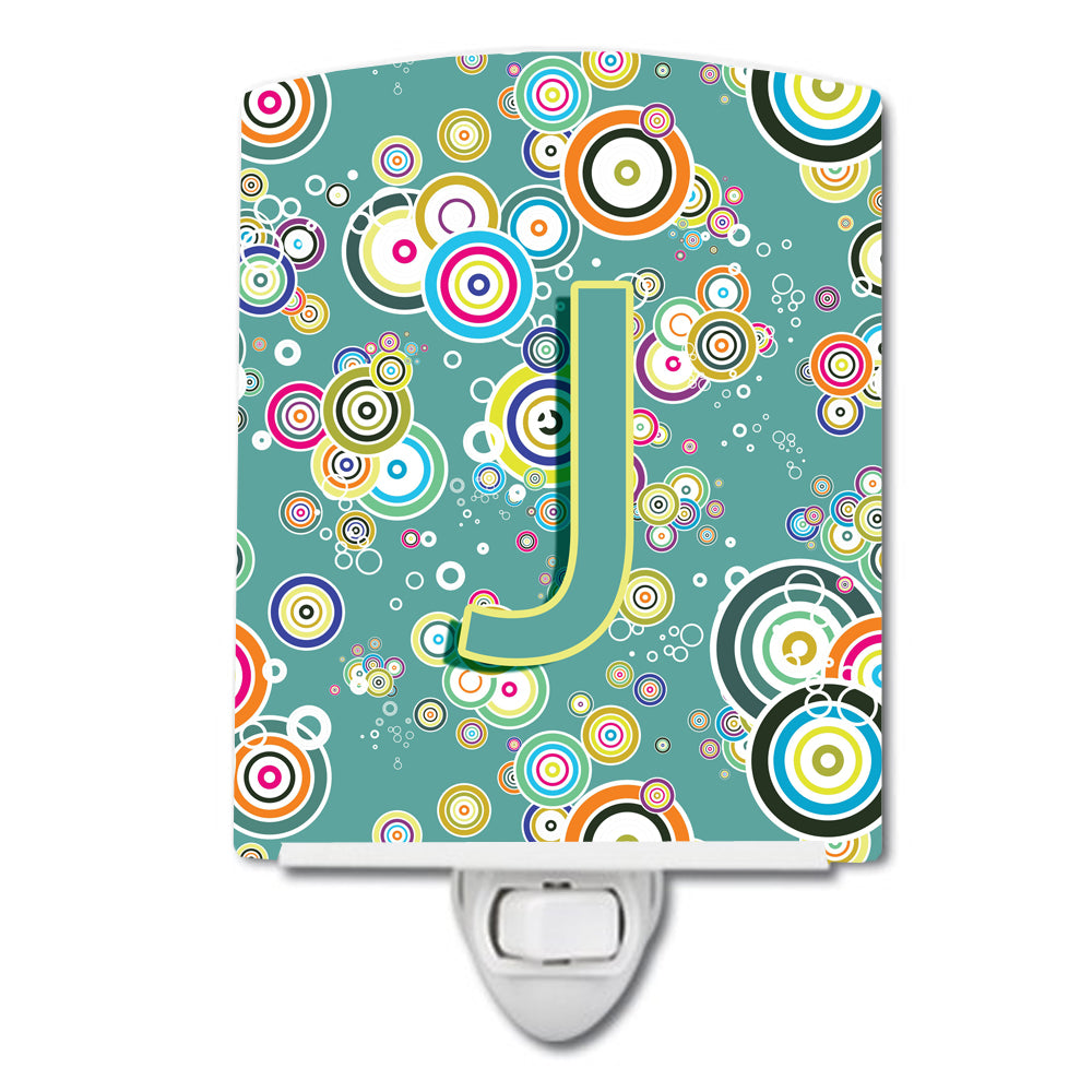 Letter J Circle Circle Teal Initial Alphabet Ceramic Night Light CJ2015-JCNL by Caroline's Treasures