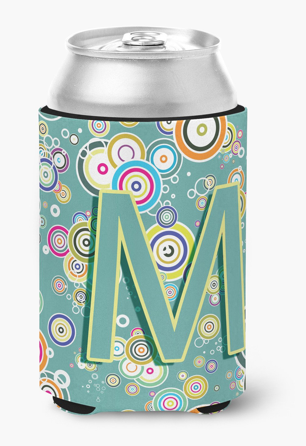 Letter M Circle Circle Teal Initial Alphabet Can or Bottle Hugger CJ2015-MCC by Caroline's Treasures