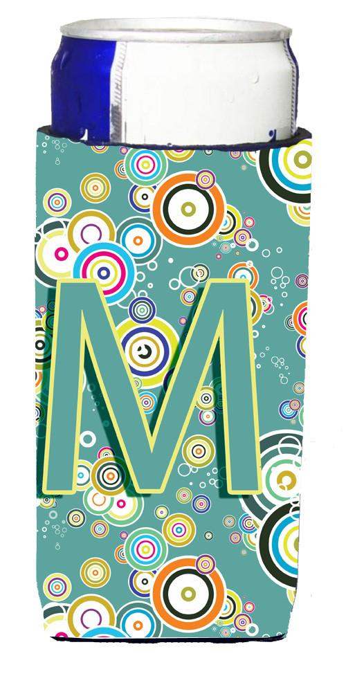 Letter M Circle Circle Teal Initial Alphabet Ultra Beverage Insulators for slim cans CJ2015-MMUK by Caroline's Treasures